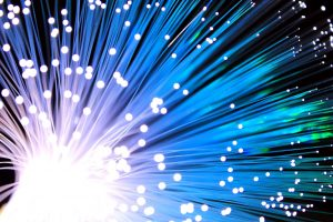 fiber optic cable with light at the end of the strand