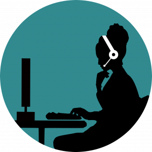 illustrated women in a call center